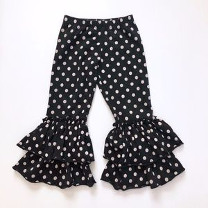 Girl Mustard Pie Black Polka Dot Ruffle Legging 2T